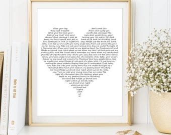 Our song lyrics print, Love Song Lyrics Wall Art, Custom Quote, Wedding Vows, sign First Dance, Printable art Home decor Custom Wedding Gift