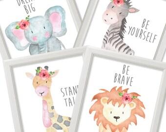 Set of 4 Safari Animals Prints, Flower Nursery Decor, Nursery Wildlife Animals poster, kids wall printable art sign Home decor DIGITAL FILES