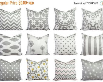 15% OFF SALE Grey Pillow Covers - Grey and White Throw Pillows - Decorative Pillows - Grey Euro Sham - Grey Pillows - Grey Couch Pillows