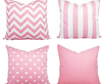 Baby Pink Pillow Cover - 20 x 20 inch Pink Pillow 16 x 16 Inch - Decorative Throw Pillow - Pink Chevron Pillow - Pink Nursery Pillows