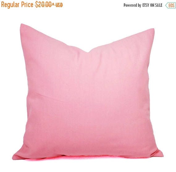 OFF SALE Two Baby Pink Pillow Covers Solid Pink Pillows