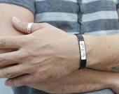 Mens leather bracelet. Personalized bracelet. monogram silver bracelet. Personalized jewelry. initial bracelet. Unisex bracelet.
