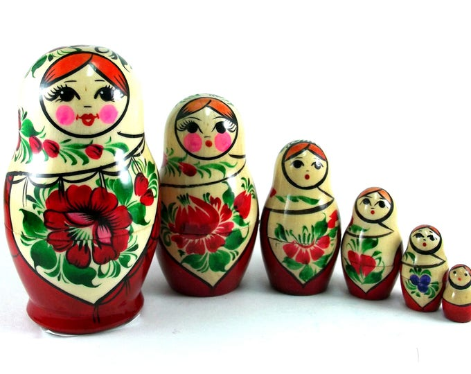 Nesting Dolls 6 pcs Russian matryoshka Babushka doll for kids set Wooden stacking authentic genuine toys Birthday gift for mom Sudarushka