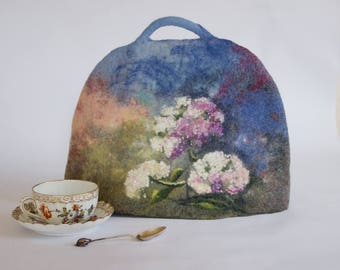 Pink Tea Cosy blue teapot cozy felted teapot warmer 4 cup teapot cover floral coffee pot cosy pink hydrangrea flower exclusive gift under60