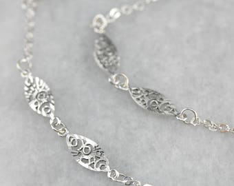 Pretty White Gold Filigree Bracelet, Gold Anklet Bracelet, Gold Link Bracelet, Beach Wedding TYM0NE-D