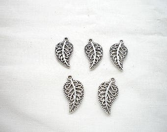 Five 19 x 10 silver silver leaf charms