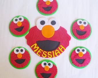 ELMO Edible Fondant Cake and Cupcake Topper 7 Piece Set