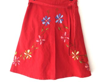 Vintage Embroidered Guatemalan Red Floral 70s Wrap Around Skirt