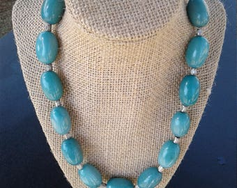 Blue-green beaded statement necklace