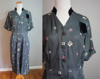 AS-IS 1950's Silk and Velvet Day Dress // Abstract Print // Large