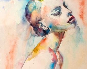 Watercolor Print. Digital art print of young lady. Poster. Art Print. Wall art, home art.