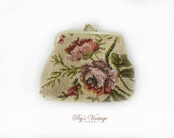 Vintage Floral Tapestry Coin Purse,  Petit Point Purse, Tapestry Weave, Change Purse, Mid Century