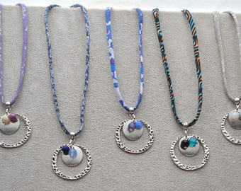 necklaces Liberty, made of Crystal, glass beads, agate, adjustable