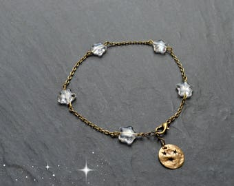 """""""Pia"""" ankle chain star Czech glass, hammered brass medallion"""