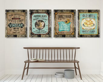 Teal Farmhouse Kitchen Decor,  Country Decor, Rustic Wall Art, Country Print, Sign, Vintage, Canvas, Farm Art, Teal