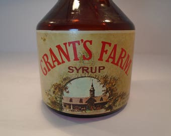 Vintage Grant's Farm Syrup Bottle with Cap Local Flavor Americana Collector's Item Mid Century