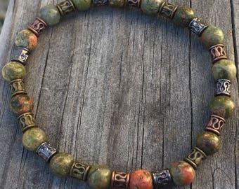 Green, Unakite Jasper, Japser bracelet, boho, boho bracelet, healing bracelet, balancing bracelet, emotional balance, stretch bracelet