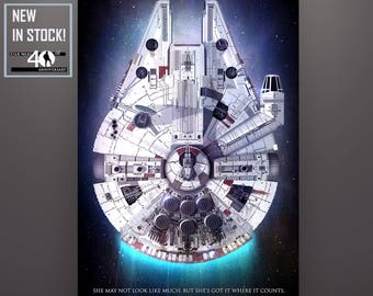 """Star Wars Inspired """"Millennium Falcon 40th Anniversary"""" Standard Art Print 11X17 - Enlargements and Premium Materials Available in Listing!"""