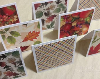 """8 Mini Fall Cards With 3"""" Envelopes, Mini Notecards, Lunchbox Cards,Fall Theme Mini Notes,Square Blank Cards, Etsy Thank You Notes, Gift Tag"""