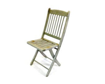 vintage wooden folding chair slatted weathered rustic wood chair cottage style farmhouse decor