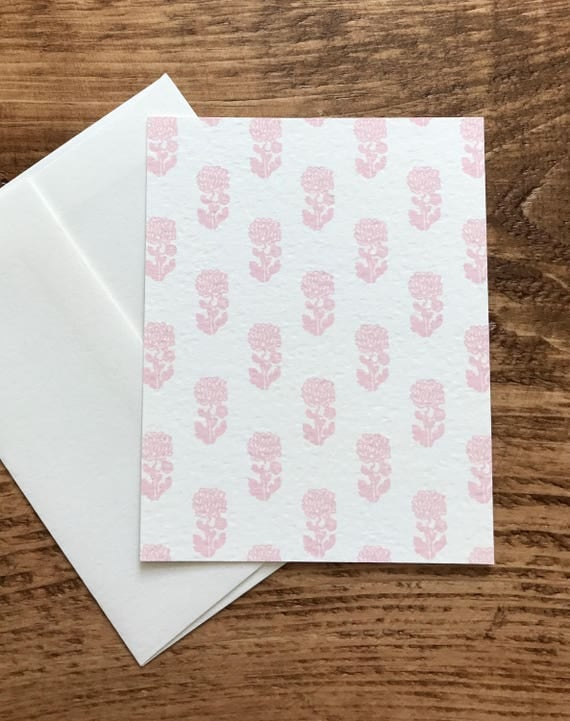 single card | pansy pink floral print | flat notecard with envelope | blank on the back