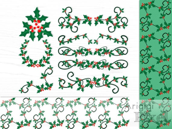 Holly Berries Dividers Clip Art & Digital Paper, Christmas clipart, New Year clip art, festive Holly leaves, Holly swirls digital elements,