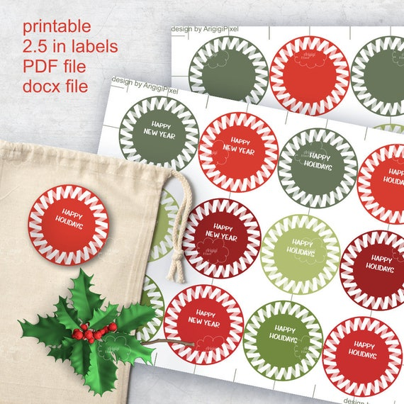 Printable Festive Round Labels - Happy Holidays - Happy New Year - 2.5 inches