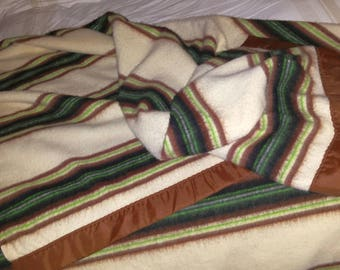 "Vintage Light Fluffy Striped Acrylic Blanket Twin/Full 72""x86"""