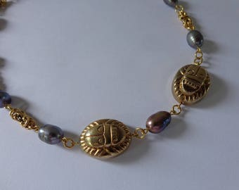Black Pearl Necklace, Black Pearl Choker Necklace, Gold Egyptian Necklace, Peacock Pearl Necklace, Scarab Necklace, Egyptian Scarab Necklace