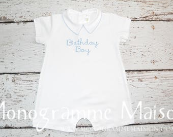 Baby Boy 1st Birthday Outfit - Boy First Birthday Outfit - Boy Birthday Pictures Outfit - Boy Birthday Gift - Collared Short Romper - Pima