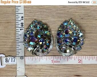 10% OFF 3 day sale Vintage Silver Toned Clip On Earrings Blue Aurora Borealis Rhinestones Used