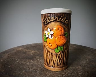 Vintage Ceramic Florida Orange Juice Cup Glass Faux Wood Grain Tree Trunk Breakfast Cup Fresh Squeezed OJ Hand Painted White Blossom Bark