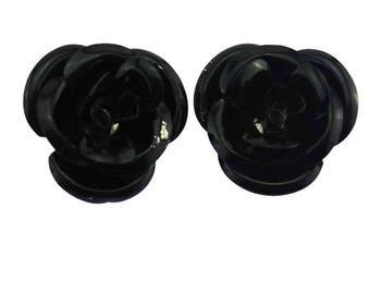 Black Flower Earrings, Black Rose Earrings, Enamel Rose Earrings, Enamel Flower Earrings