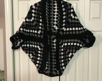 Granny Square Cocoon Vest- Large