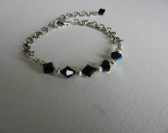 Moonlight - Bracelet in black Swarovski AB Crystal and silver metal