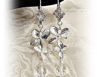 Orchid flower earrings, bridal or bridesmaids wedding jewelry/.  Cascading orchid dangle earrings.