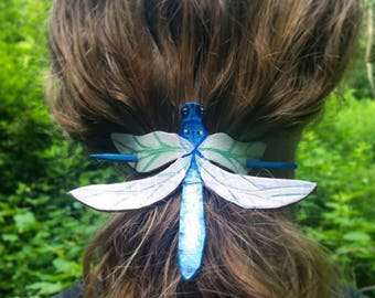 Dragonfly Leather Ponytail Holder
