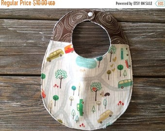 SALE Chenille Two Toned/Quilted Bib ~ Woodgrain/Camp/Cars/Scenic/Nature/Explore/Map