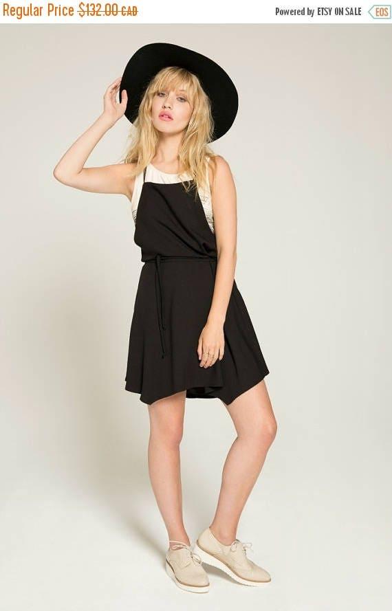 SOLDE EMMÈNE-Moi - adjustable shoulder strap overall dress, skater dress, flared overall for women - black