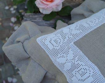 Crocheted pillow rose vine