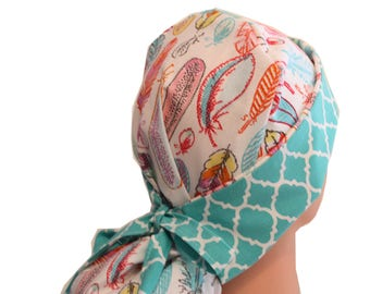 Surgical Scrub Hat Medical Cap Tie Back Front Fold Ponytail Pastel Feathers Pink Teal Orange 2nd Item Ships FREE