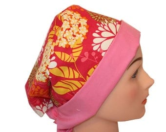 Surgical Scrub Hat Scrub  Chef Doctor Vet Nurse Cap Flirty Front Fold Pixie Pink Yellow Orange Green Floral  2nd Item Ships FREE