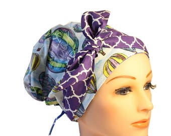 Scrub Hat Cap Chemo Bad Hair Day Hat  European BOHO Banded Pixie Tie Back Hot Air Balloons Purple Tie Band 2nd Item Ships FREE