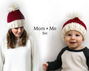 Santa Hat, Mommy and Me Set, Father Son, Mother Daughter Hats, Knitted Set Gift