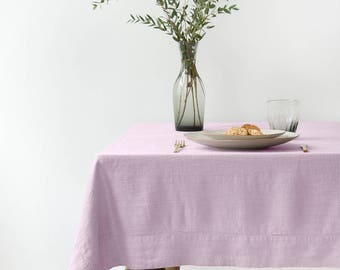 SALE! Pink Lavender Linen Tablecloth with Hemstitch