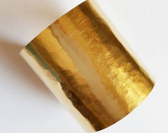Long gold cuff hammered
