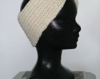 Wide headband off white, pure wool for winter!
