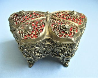 Butterfly Box Jewelry Casket Gold Filigree Red Gold Tone or Brass Jewelry Casket Footed Trinket Box Rose Accents Vintage Vanity Boudoir
