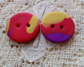 Two polymer clay marbled buttons, unique buttons, handmade buttons, sewing, knitting, scrapbooking, crafts, focal buttons, yellow, red
