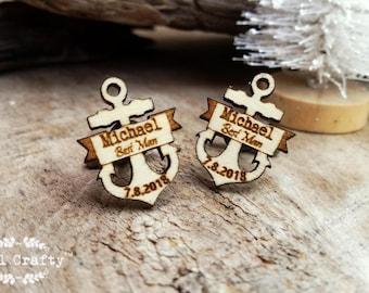 Personalized Anchor Wooden Cufflinks Nautical Beach wedding Dad Grooms Best man Groomsman Rustic Wedding Birthday Gift Cuff links